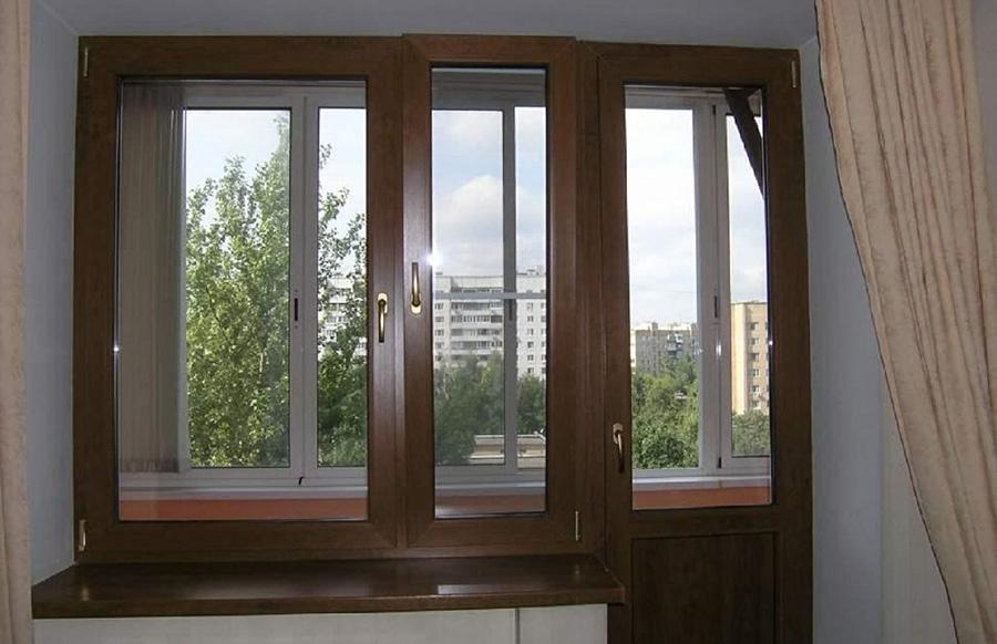 Балконная пара с ламинацией под дуб